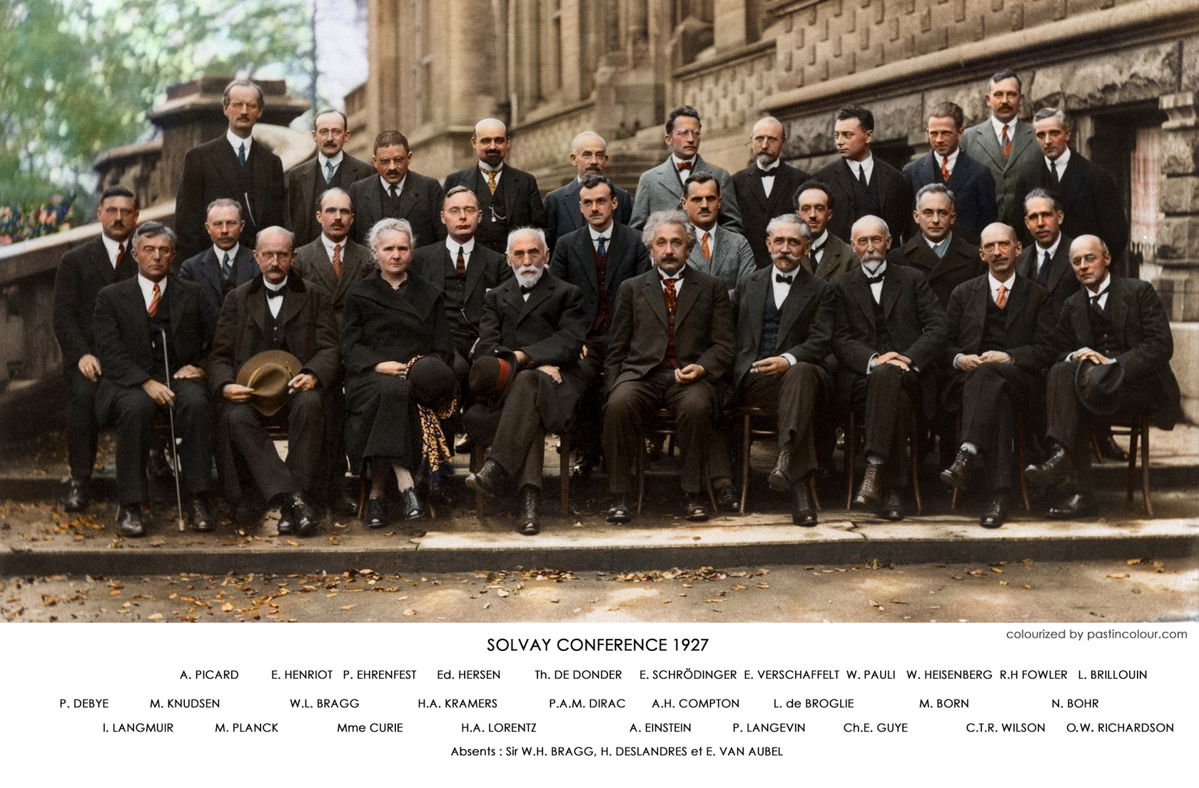 Solvay conference 1927 colourized einstein