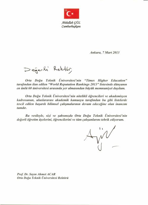 Abdullah Gul ODTU Kutlama Yazisi