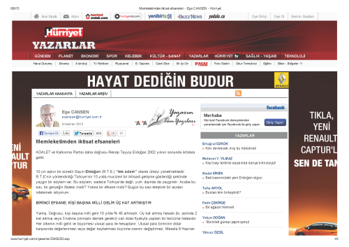 Memleketimden iktisat efsaneleri - Ege CANSEN - Hürriyet_Sayfa_1