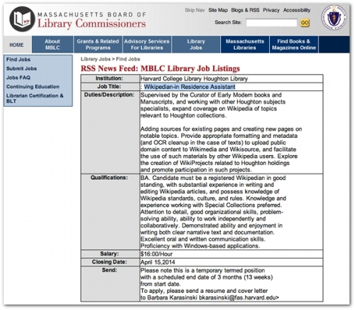 Wikipedian-in-Residence-Assistant_Harvard-job-listing