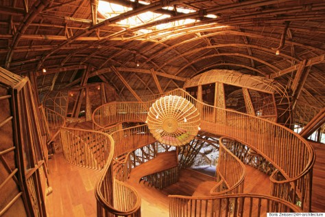 The inner dome of the Soneva Kiri library, constructed from bamboo
