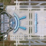 Incheon International Airport is located thirty miles west of Seoul, South Korea