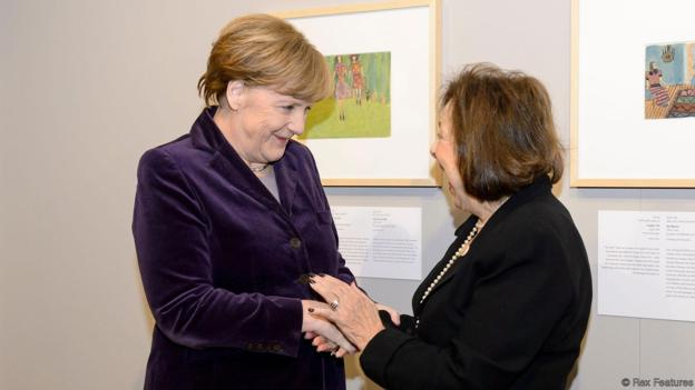 Mandatory Credit: Photo by Action Press/REX/Shutterstock (5567631d) Angela Merkel and Nelly Toll 'Art from the Holocaust' exhibition at the German Historical Museum, Berlin, Germany - 25 Jan 2016