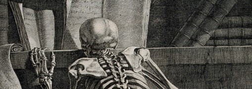V0008800 A kneeling skeleton, seen from behind, reading a book on a