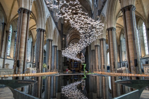 Thousands Of White Doves Are Installed In Salisbury Cathedral
