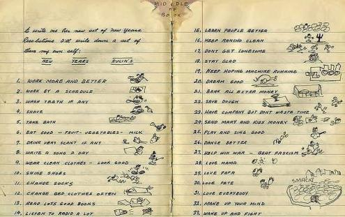 Woody Guthrie's New Year's Resolutions found in a journal dated January 1, 1943