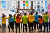 THIS PICTURE IS FREE FOR EDITORIAL USE Excited fans queue for the official opening of Flagship Microsoft Store on Oxford Circus