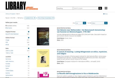 LOC open access books