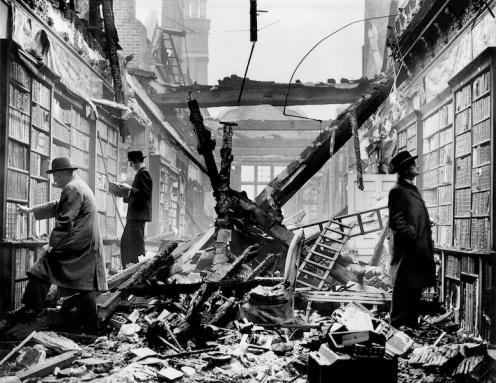 Holland House library after an air raid